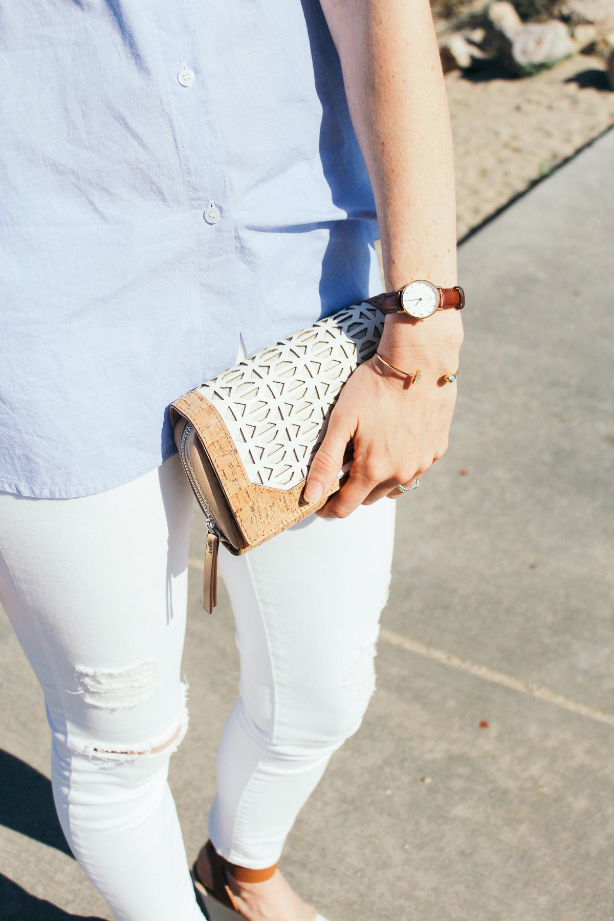stella dot cork clutch, daniel wellington watch, jules smith cuff, white distressed denim