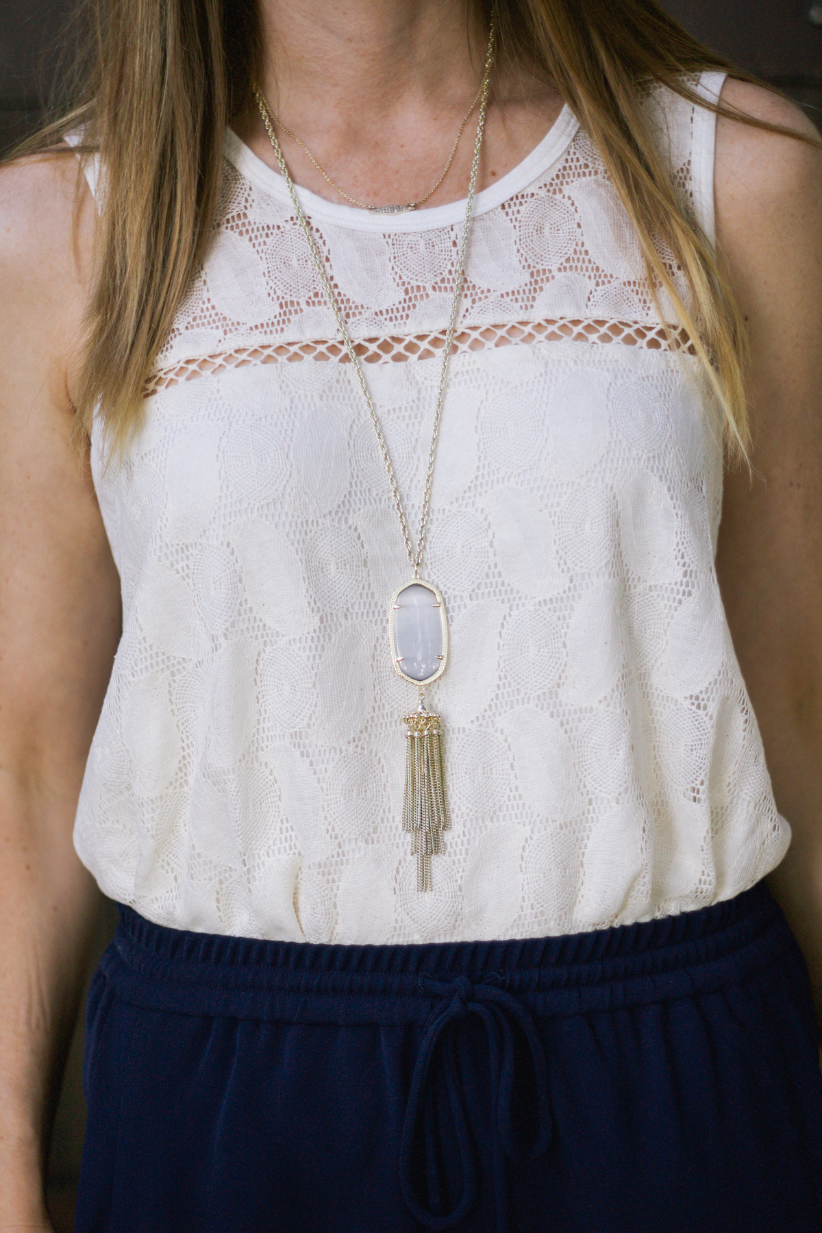 pave necklace, gold necklace, tassel necklace