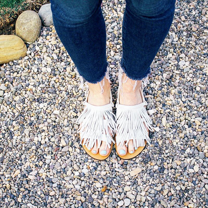 JCrew fringe sandals