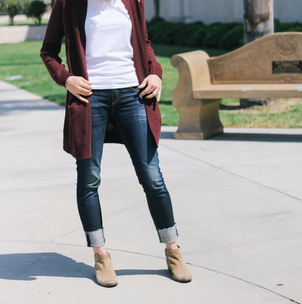 cardigan with pockets, oversized cardigan, long cardigan, nordstrom cardigan, burgundy cardigan, rag and bone jeans, dark denim, cuffed denim, boyfriend jeans, sam edelman booties, grey suede booties, fall cardigan