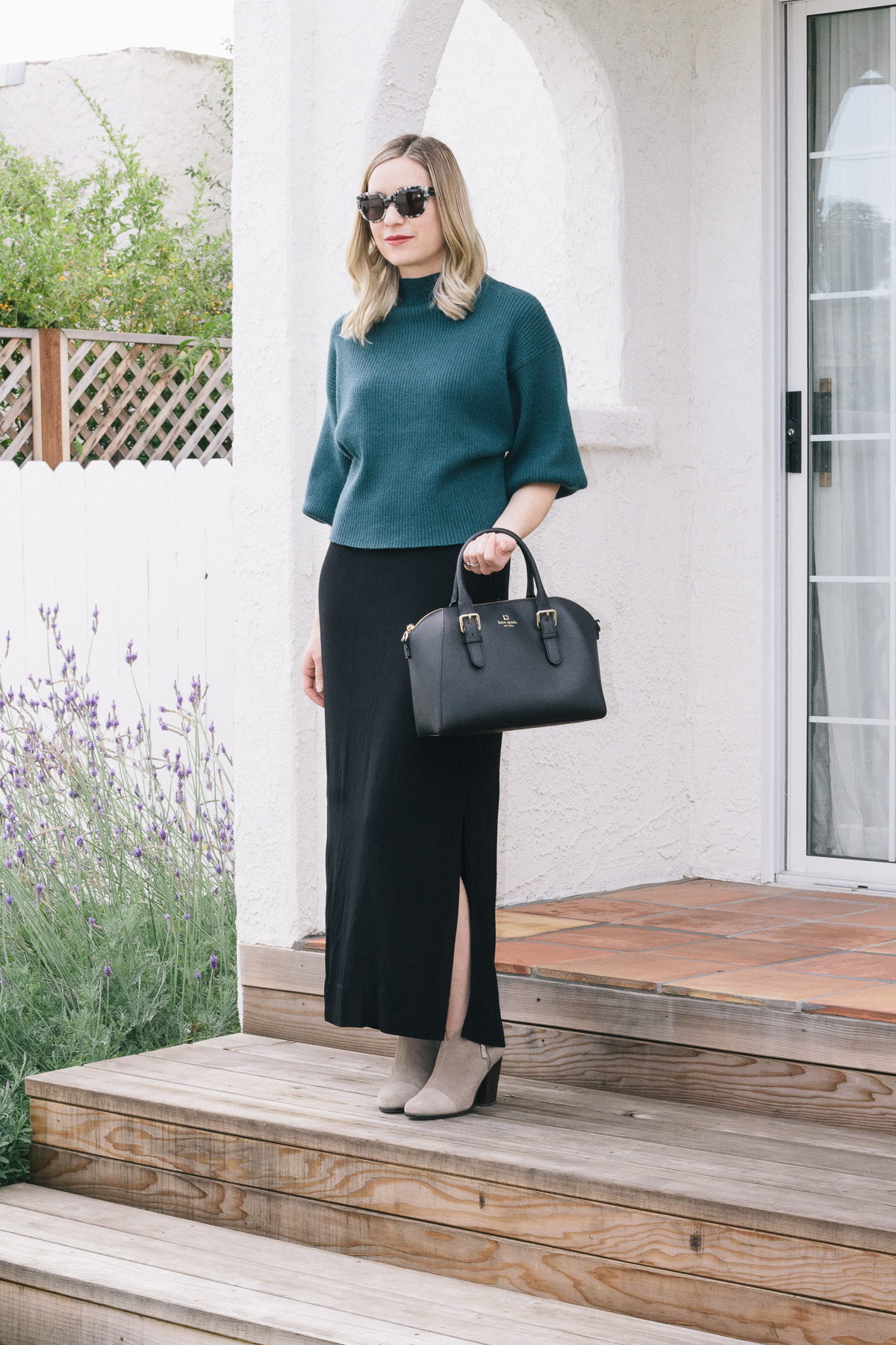 fitted ankle skirt, balloon sleeve sweater, mock neck sweater, peacock blue sweater, rag and bone booties, rag and bone margot booties, kate spade tote