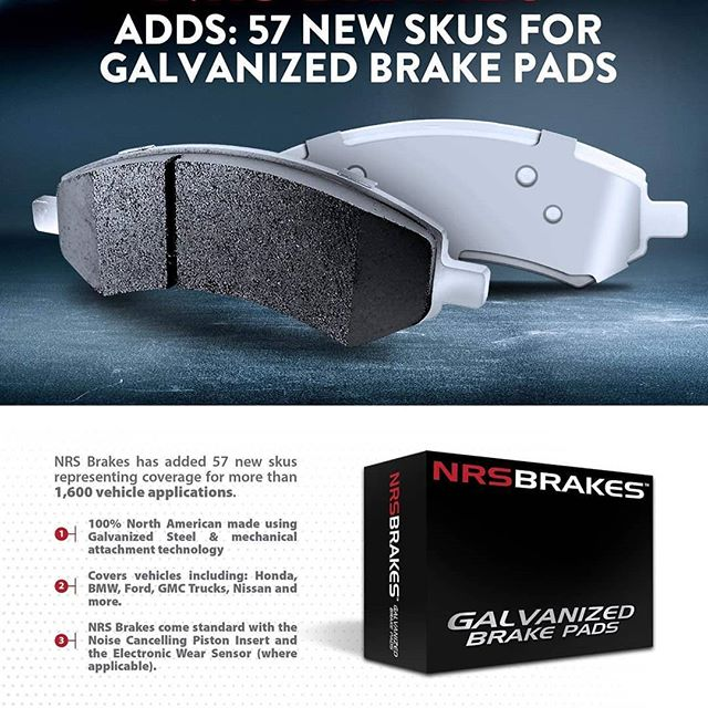 **NEW PRODUCT ALERT** 57 new brake SKU's across 1600 vehicle applications for brands like #honda #bmw #ford #gmc #nissan #galvanizedbrakes #galvanizedbrakepads #brakepads #autoindustry #cartech #nrsbrakes #newproductalert