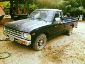 blue beater toyota pickup