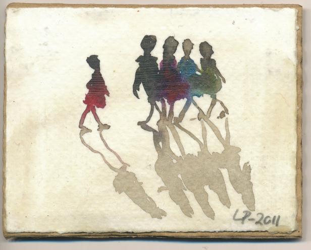 Piker på stranden //  Lis Petersen  // Akvarell på papir