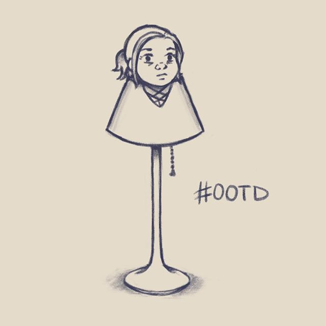 Just a doodle of my outfit today. I wore tight pants and a shirt that was a lot wider than I remember. I felt like a floor lamp. But a *sexy* floor lamp, because the shirt was a lot lower cut than I remember, too. . . . . #ootd #doodle #lamp #procreate #selfie #fashion