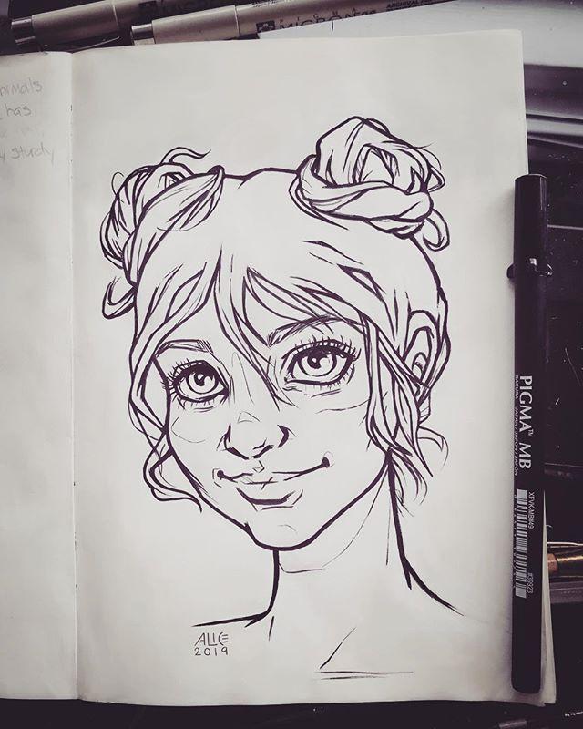 Sketchbook gal with buns . . . . #sketch #inkdrawing #artistoninstagram #lineart #outline #micron #pigmamicron #pendrawing #illustration #sketchbook