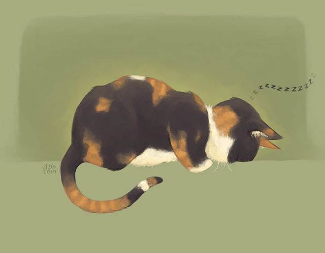 Playing around with some brushes I don't normally use. This is one of Minion's favored sleeping positions. . . . . #procreate #procreateapp #🐱 #catnap #catart #illustration #artistsoninstagram #cat #minionthecalico #digitalart #petportrait