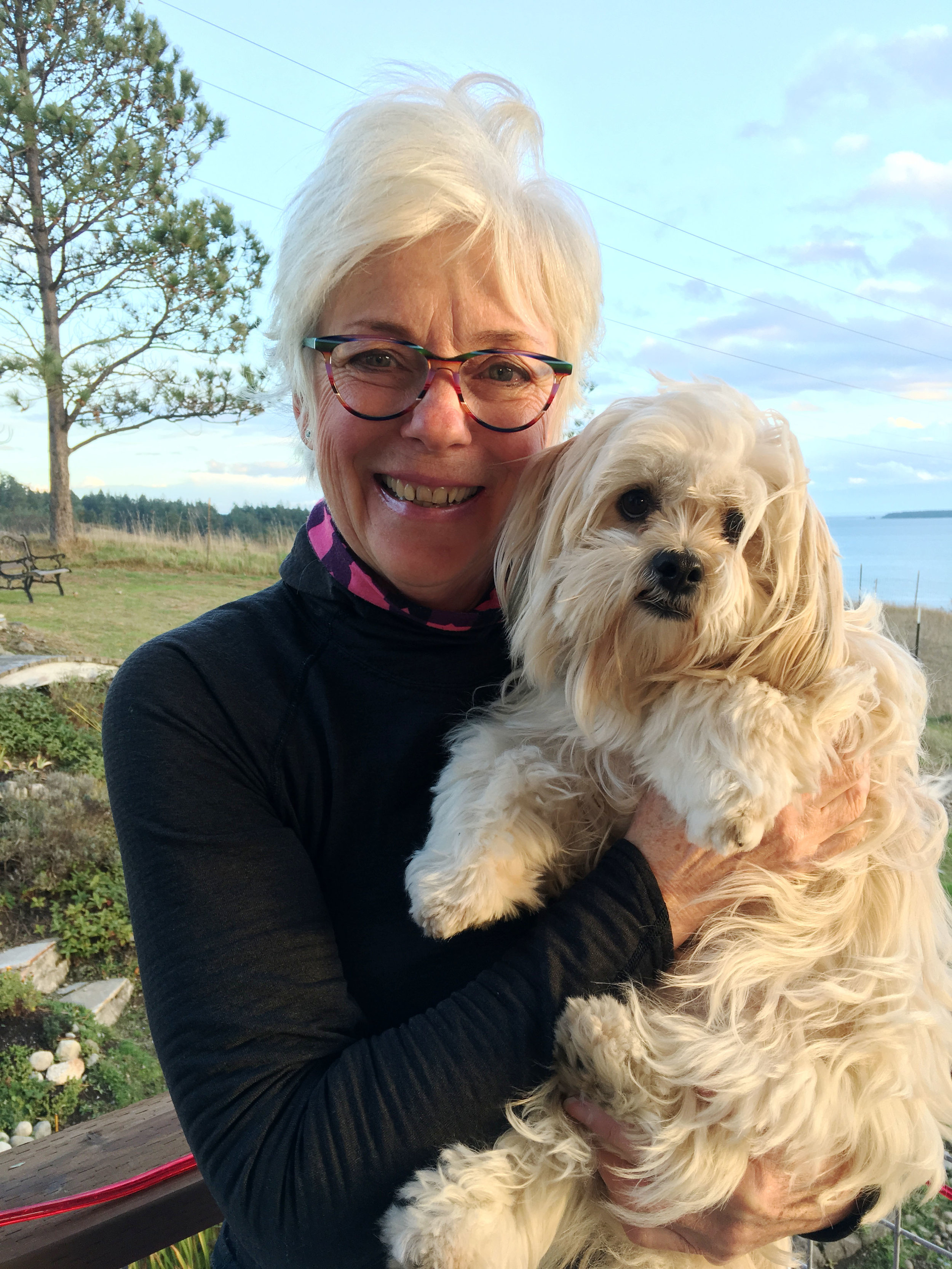RA Cook and her dog, Stuart. Friday Harbor, Washington