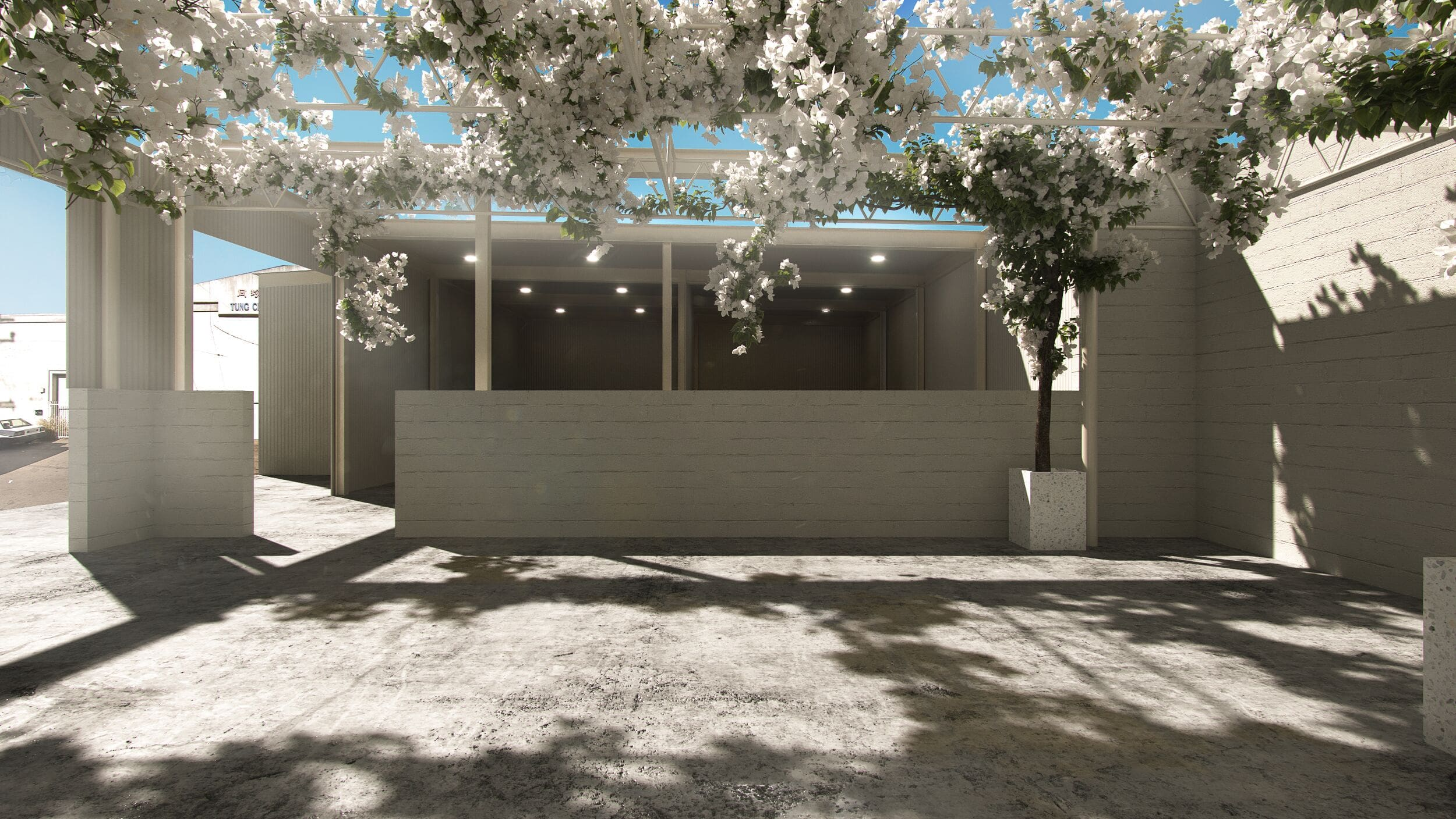 This is a visual rendering of the uncovered veranda space looking into the covered space.