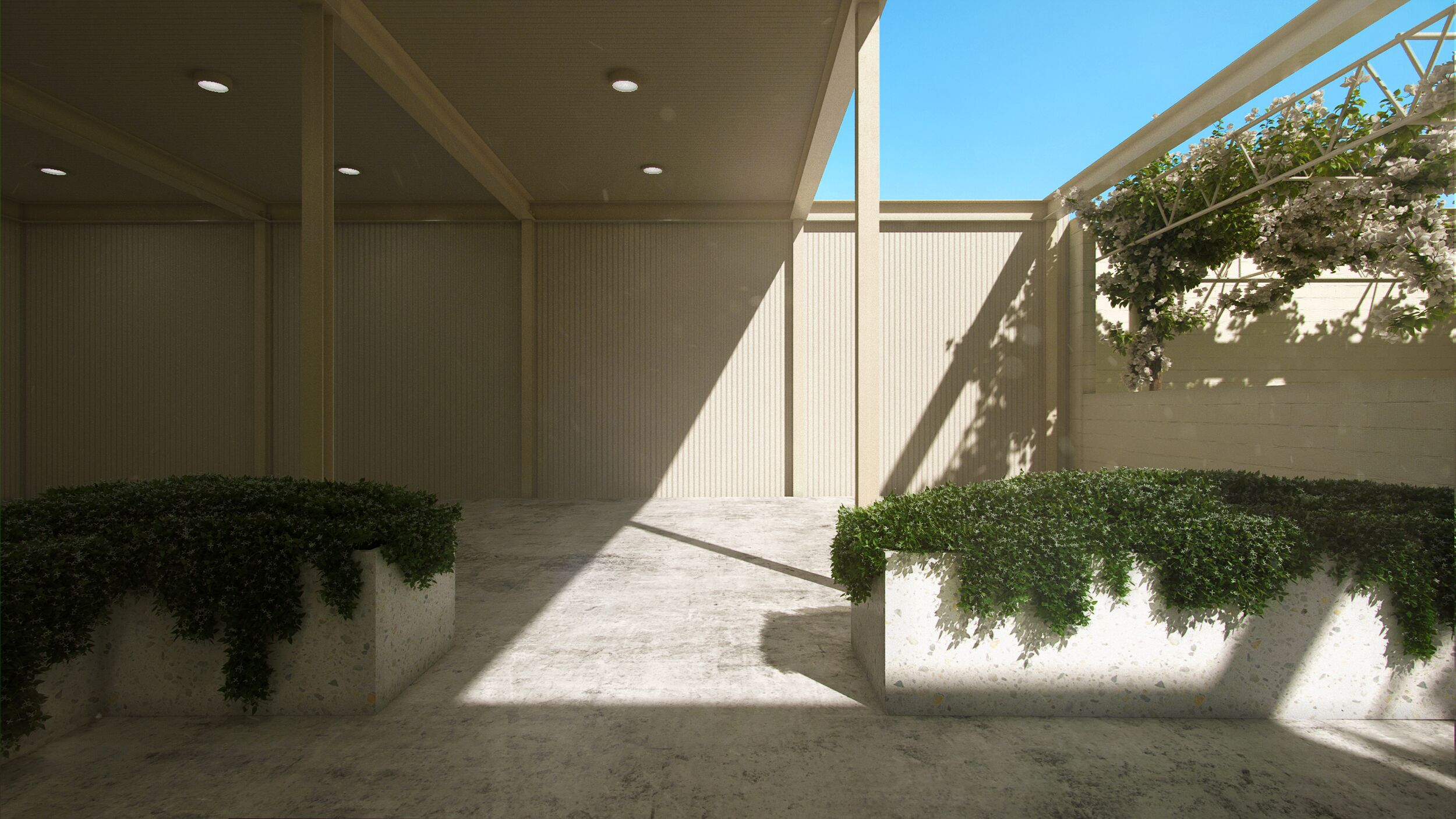 This is a visual rendering of the covered veranda space.