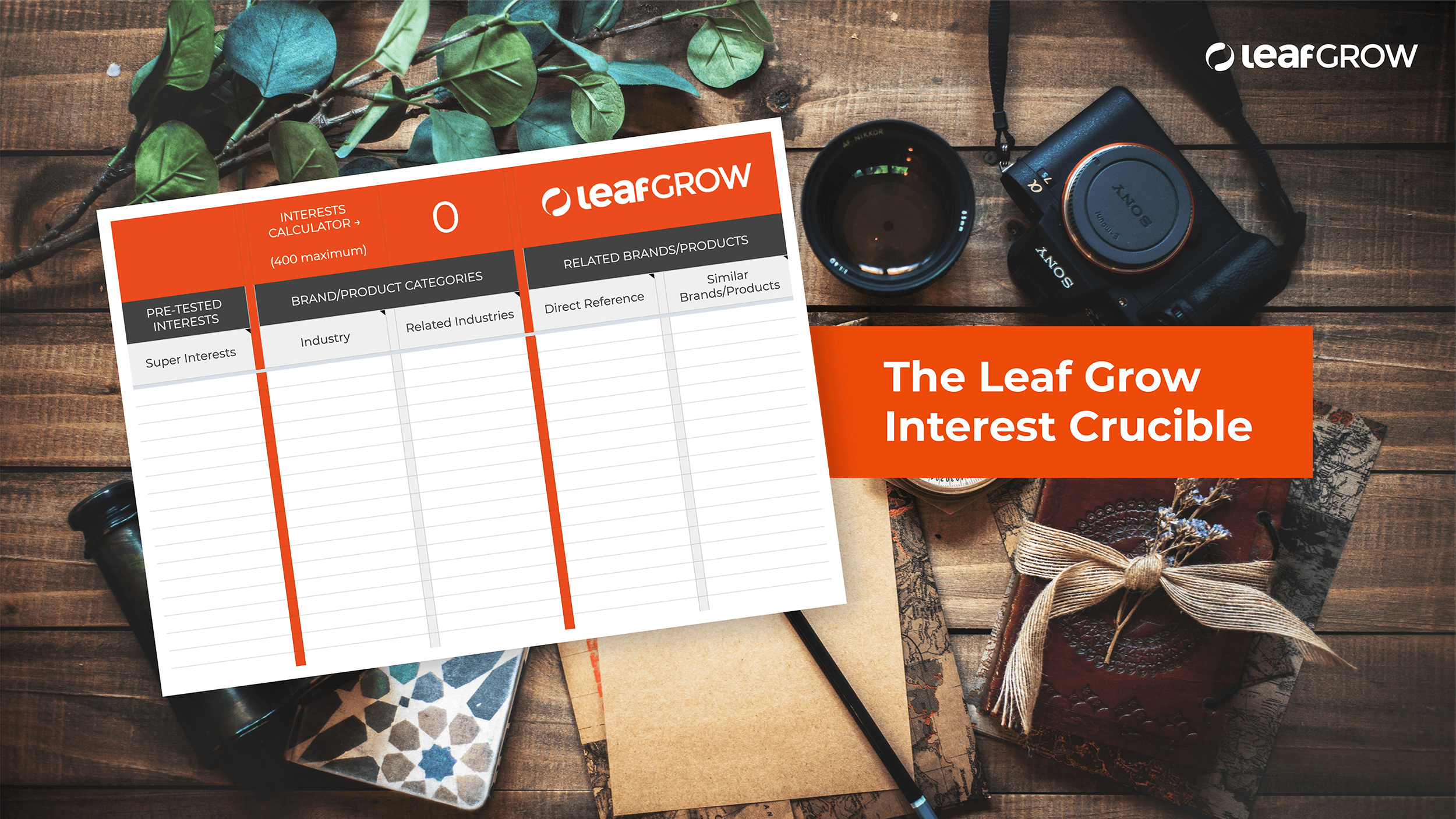 The Leaf Grow Interest Crucible - Laser target the people who'll love your brand.Identify the super interests driving maximum ROAS for your brand, with our interest targeting & performance framework.
