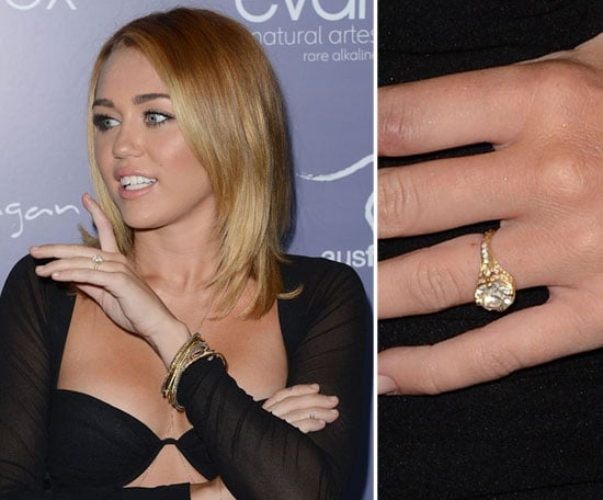 Miley Cyrus in 2012 wearing her engagement ring. // Getty Images