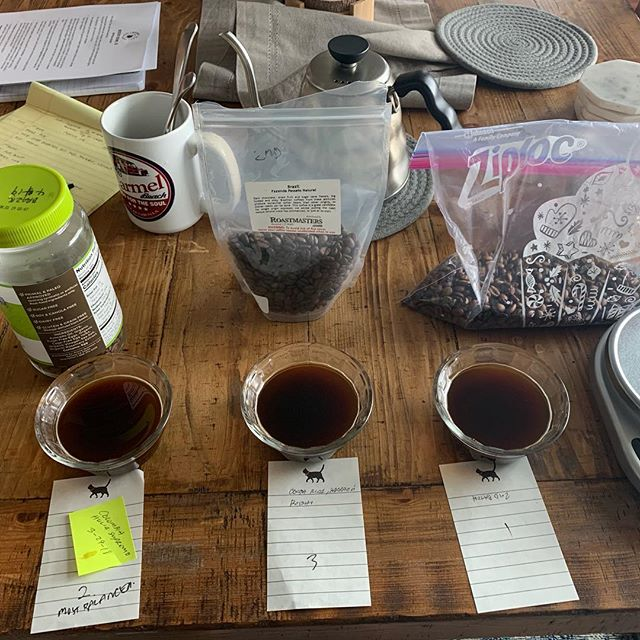 Batch cupping yesterday's roast. Brazil makes a nice full city 👌🏽 I'm pleased with this run.