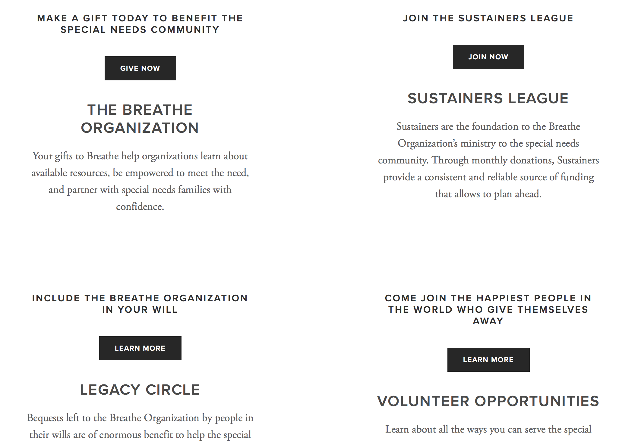 Multiple and descriptive giving options  increase  giving exponentially on nonprofits sites.