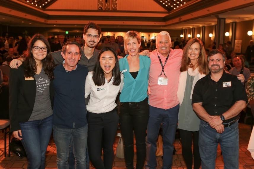 10 Year Anniversary: Amanda, Matthew, Mark Adams (co-founder CruzHacks), Leslie, LeBaron, Doug, Margie, Tom