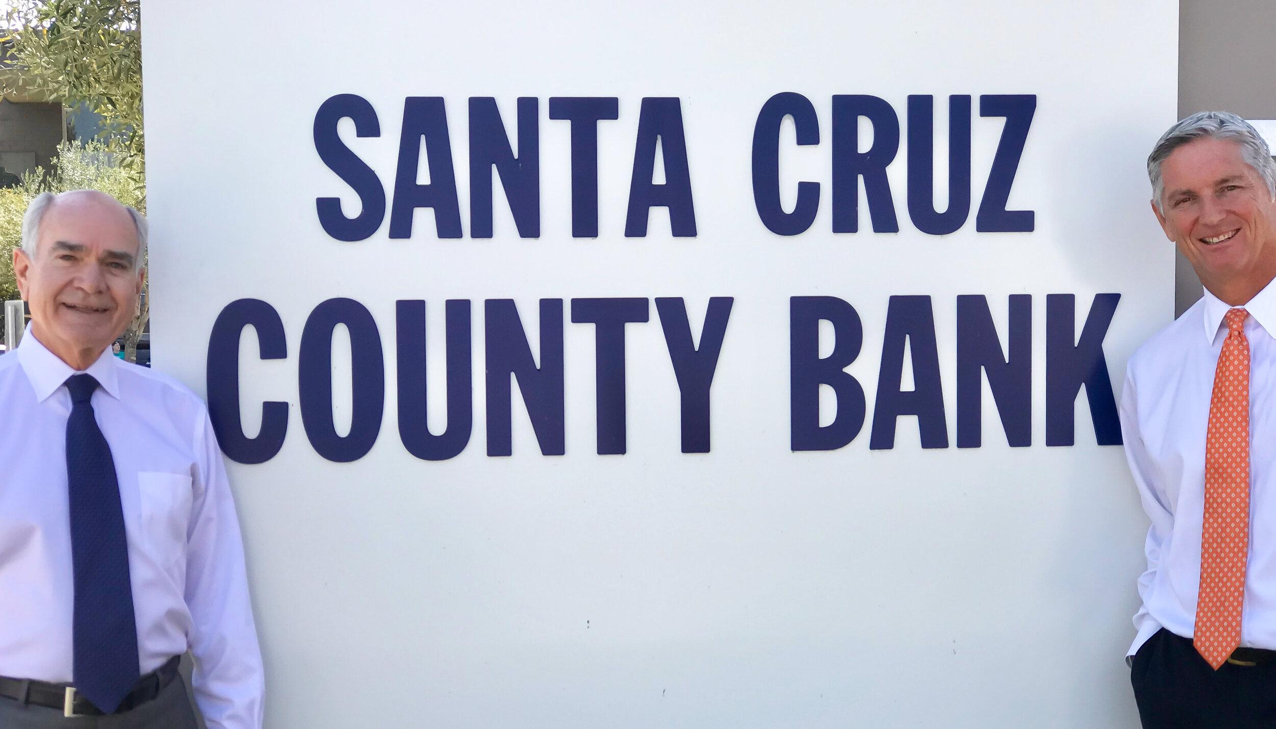 David Heald, president of Santa Cruz County Bank, and Jon Sisk, president of Lighthouse Bank.