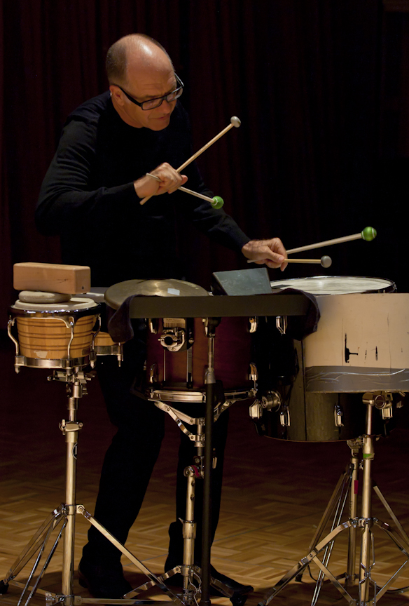 "Steven Schick   Percussionist, conductor, and author Steven Schick was born in Iowa and raised in a farming family. Hailed by Alex Ross in the New Yorker as, ""one of our supreme living virtuosos, not just of percussion but of any instrument,"" he has championed contemporary percussion music by commissioning or premiering more than one hundred-fifty new works. The most important of these have become core repertory for solo percussion.  Steven Schick is artistic director of the La Jolla Symphony and Chorus and the Breckenridge Music Festival. With Claire Chase, he is co-artistic director of the Summer Music Program at Banff Center in Canada.  Also active as a conductor, he has appeared with the BBC Scottish Symphony Orchestra, the Saint Paul Chamber Orchestra, the Milwaukee Symphony, Ensemble Modern, the International Contemporary Ensemble, and the Asko/Schönberg Ensemble. In 2018 he curated and was conductor and percussion soloist in, ""It's About Time,"" a festival of the San Diego Symphony designed to highlight the musical dimensions of the cross-border area.  Schick's publications include a book, ""The Percussionist's Art: Same Bed, Different Dreams,"" and numerous recordings including the 2010 ""Percussion Works of Iannis Xenakis,"" and its companion, ""The Complete Early Percussion Works of Karlheinz Stockhausen"" in 2014 (Mode). For the latter, he received the Deutscheschallplattenkritikpreis for the best new music release of 2015. He was inducted into the Percussive Arts Society Hall of Fame in 2014.  Steven Schick is Distinguished Professor of Music and holds the Reed Family Presidential Chair at the University of California, San Diego."