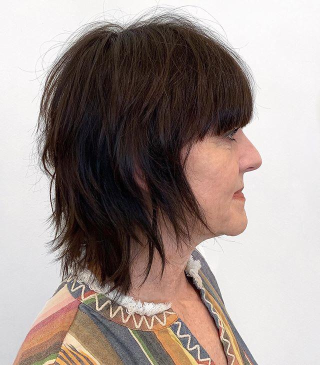 SHAG By @alanconover . . . #shaghaircut #fringe #bangs #brunette #houstonsalon #houstonhair #montrose #kerastase #shuuemura #lorealsalon #lp #texturedhaircut #haircut #edgy #montrose #htx #htown