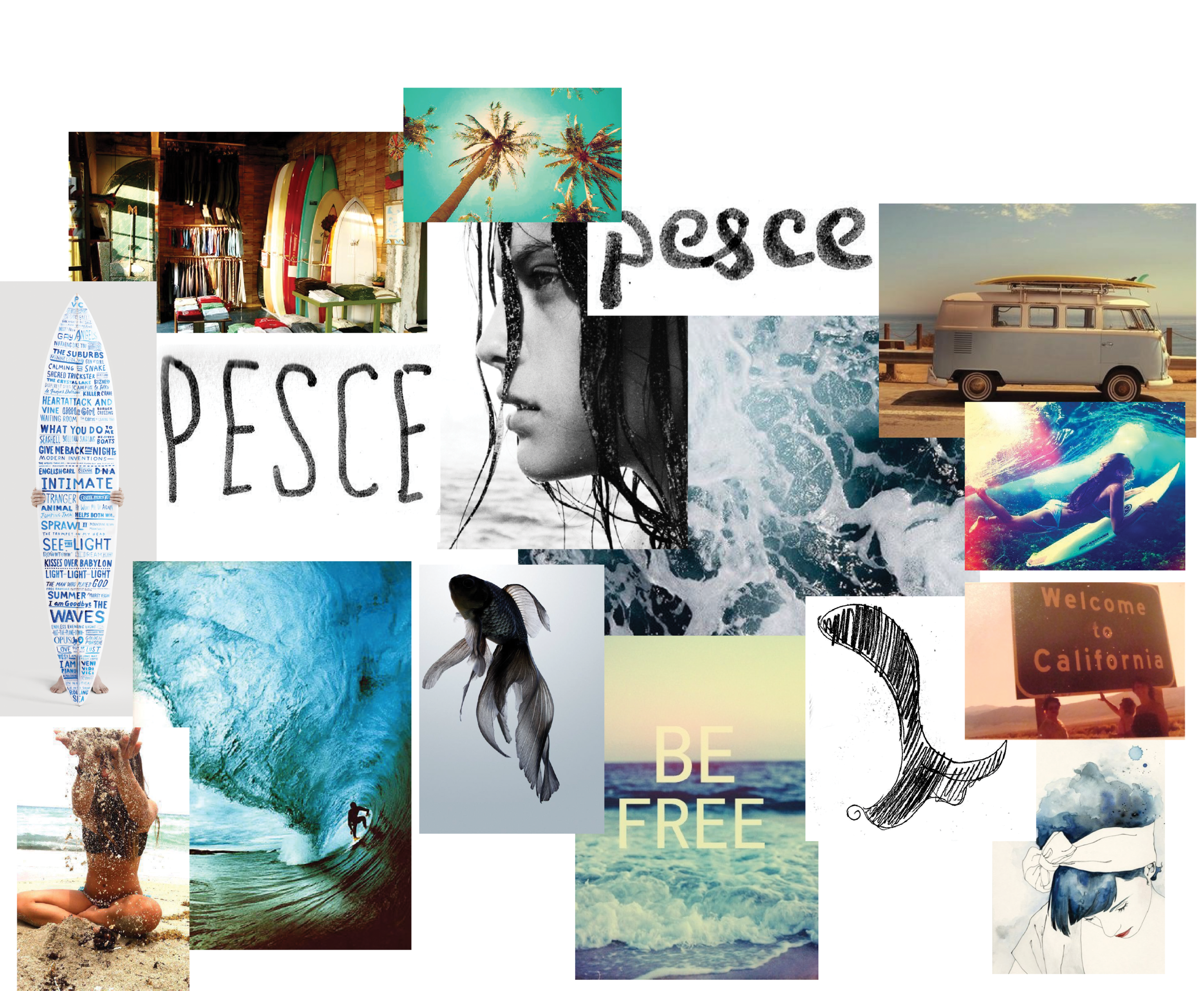 A mood board that demonstrates the intended look and feel for the surf shop through inspirational images and sketches.