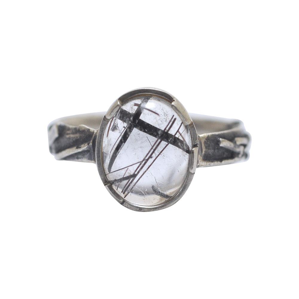 ring silver cabochon quartz black lines oxidised.jpg