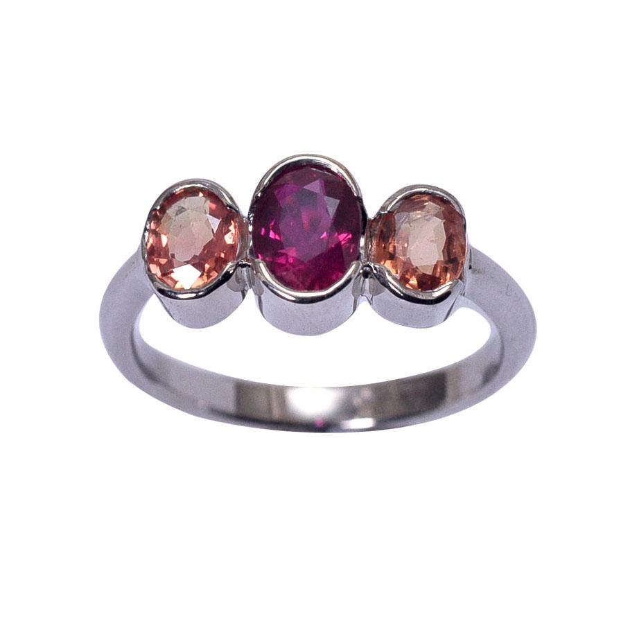 ring white gold three stone oval bezel set ruby orange sapphire.jpg
