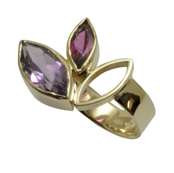 pink tourmaline and amethyst 18ct yellow gold ring.jpg