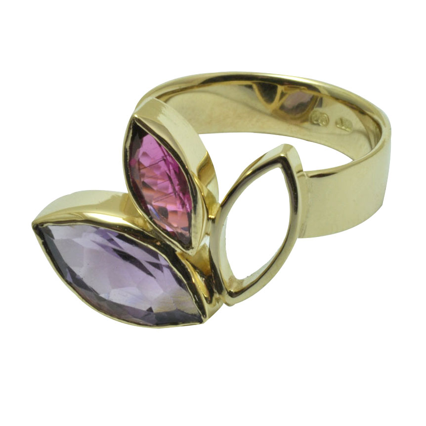 marquise pink tourmaline and amethyst 18ct yellow gold ring .jpg
