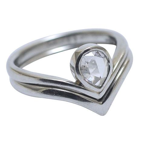 ring set fitted wedding engagement platinum rose cut diamond.jpeg