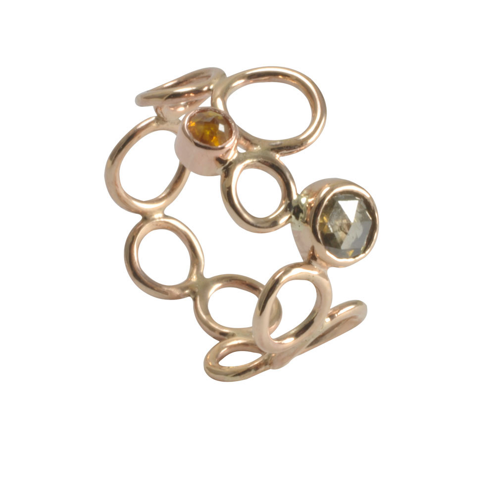Rose cut diamond 9ct rose gold circle ringjpg.jpg