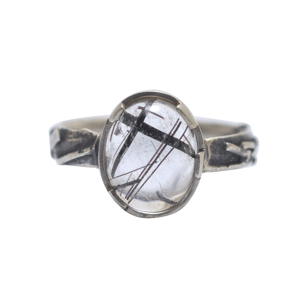 ring silver cabochon quartz black lines oxidised.jpg