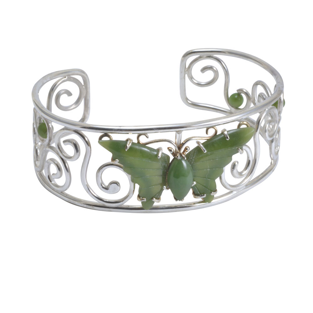 Jade butterfly silver scroll bangle.jpg