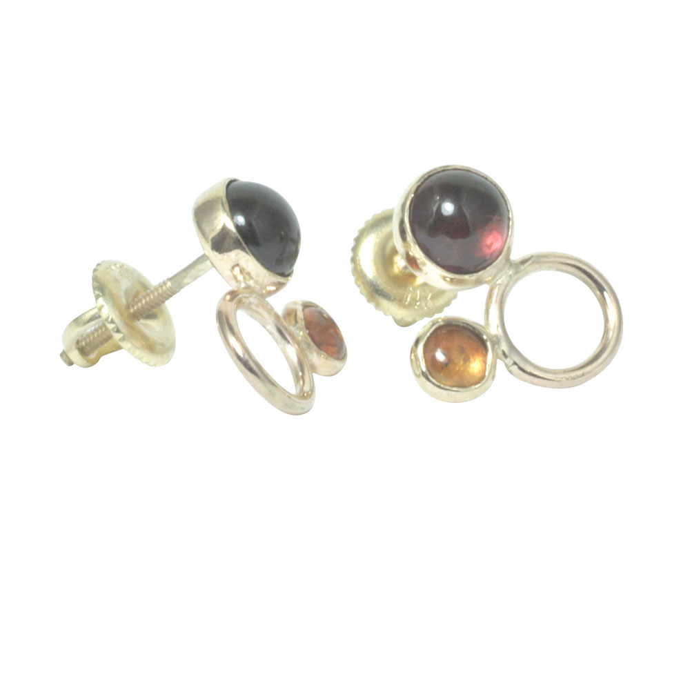 rhodalite garnet and orange sapphire circle studs 14ct yellow gold.jpg