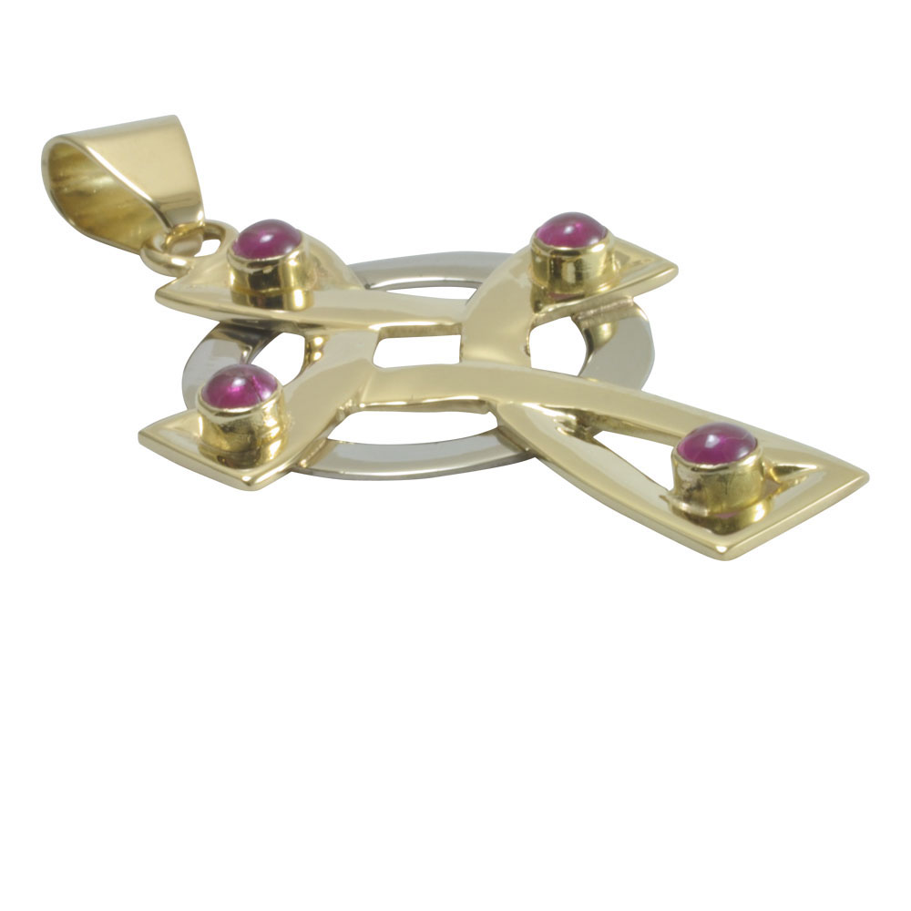ruby set 18ct gold two tone celtic carved cross.jpg