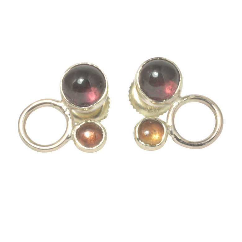 garnet and sapphire screw back 14ct yellow circle earrings.jpg