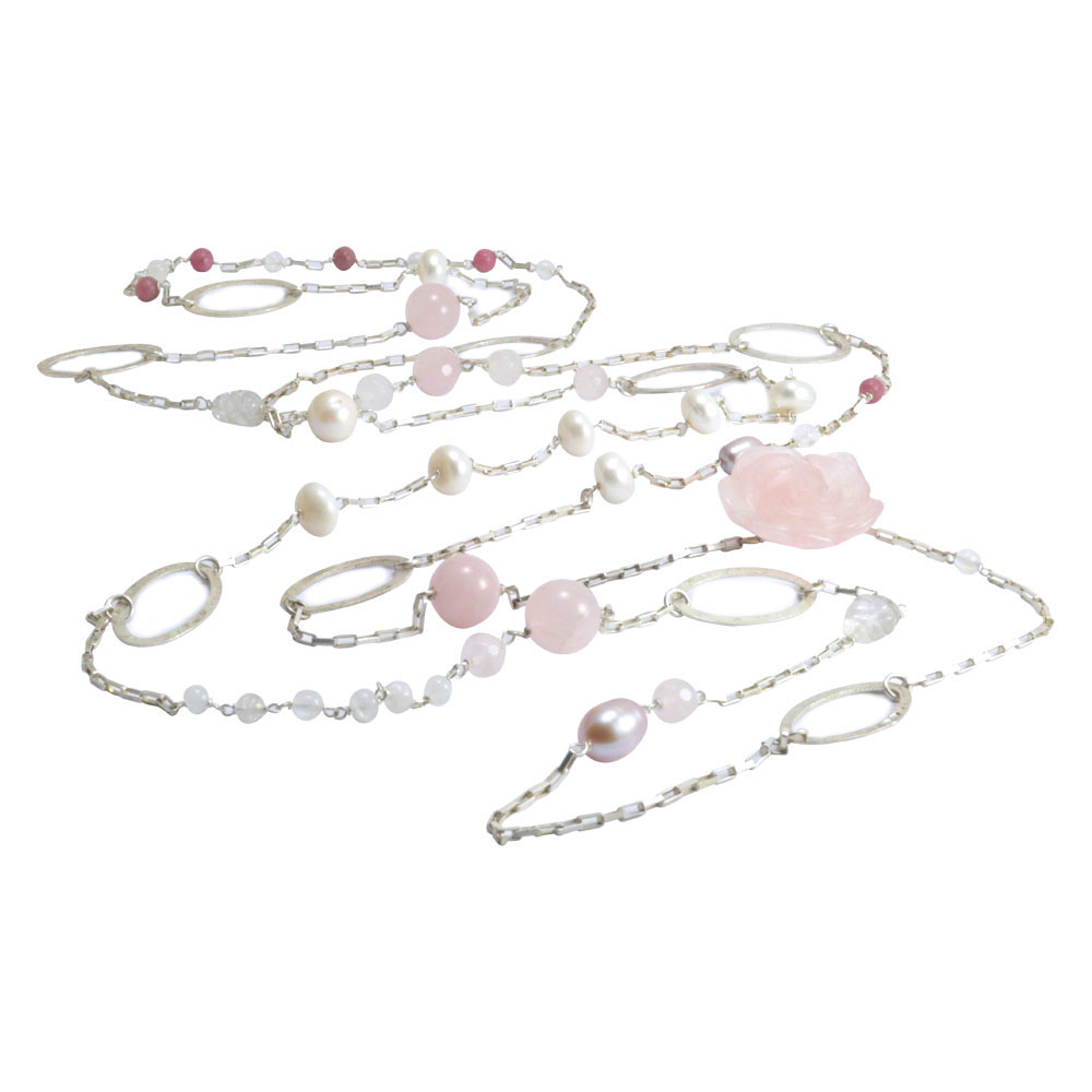 carved rose quartz rhodolite moonstone pearl triple wrap silver necklace.jpg