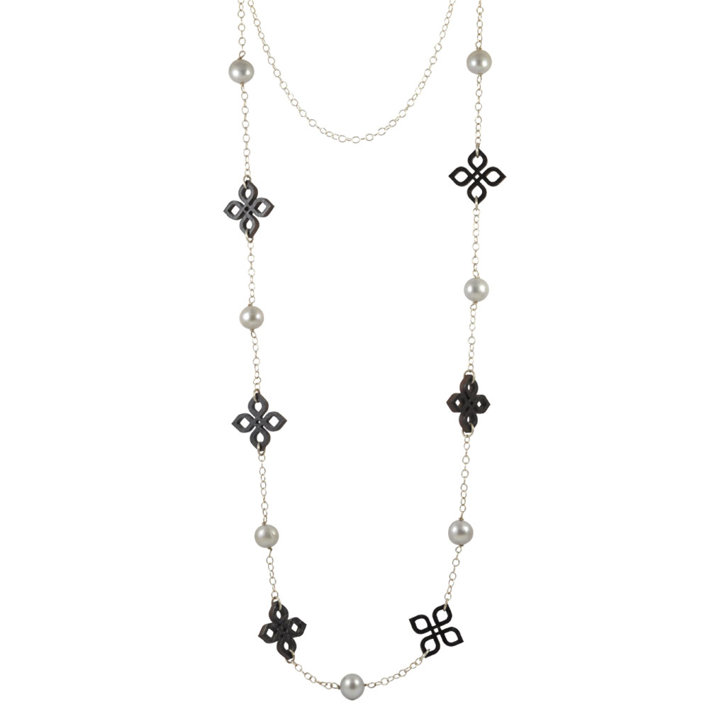 black bamboo knot and grep pearl silver necklace.jpg
