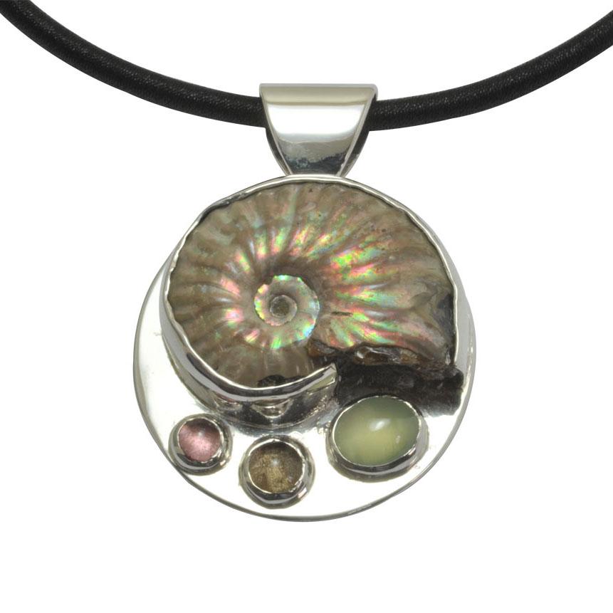 amolite fossil silver pendant prehnite tourmaline quartz.jpg