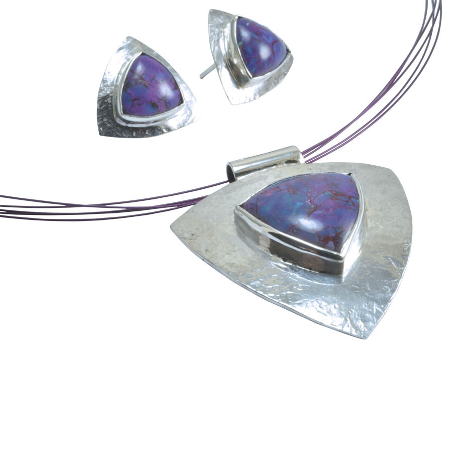 purple mohav triangle cabochon textured silver set.jpg