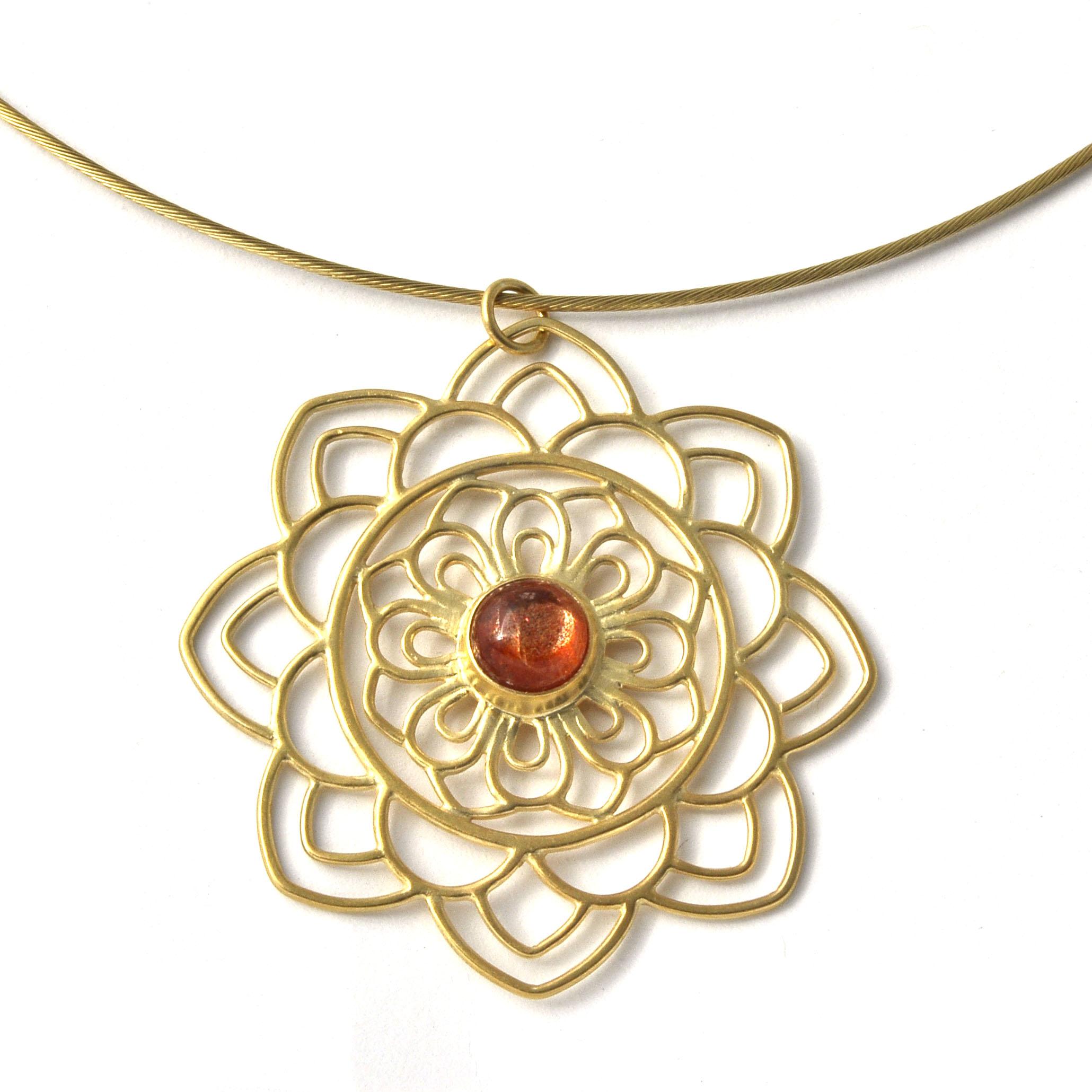 Gold plated silver mandala sunstone pendant.jpg