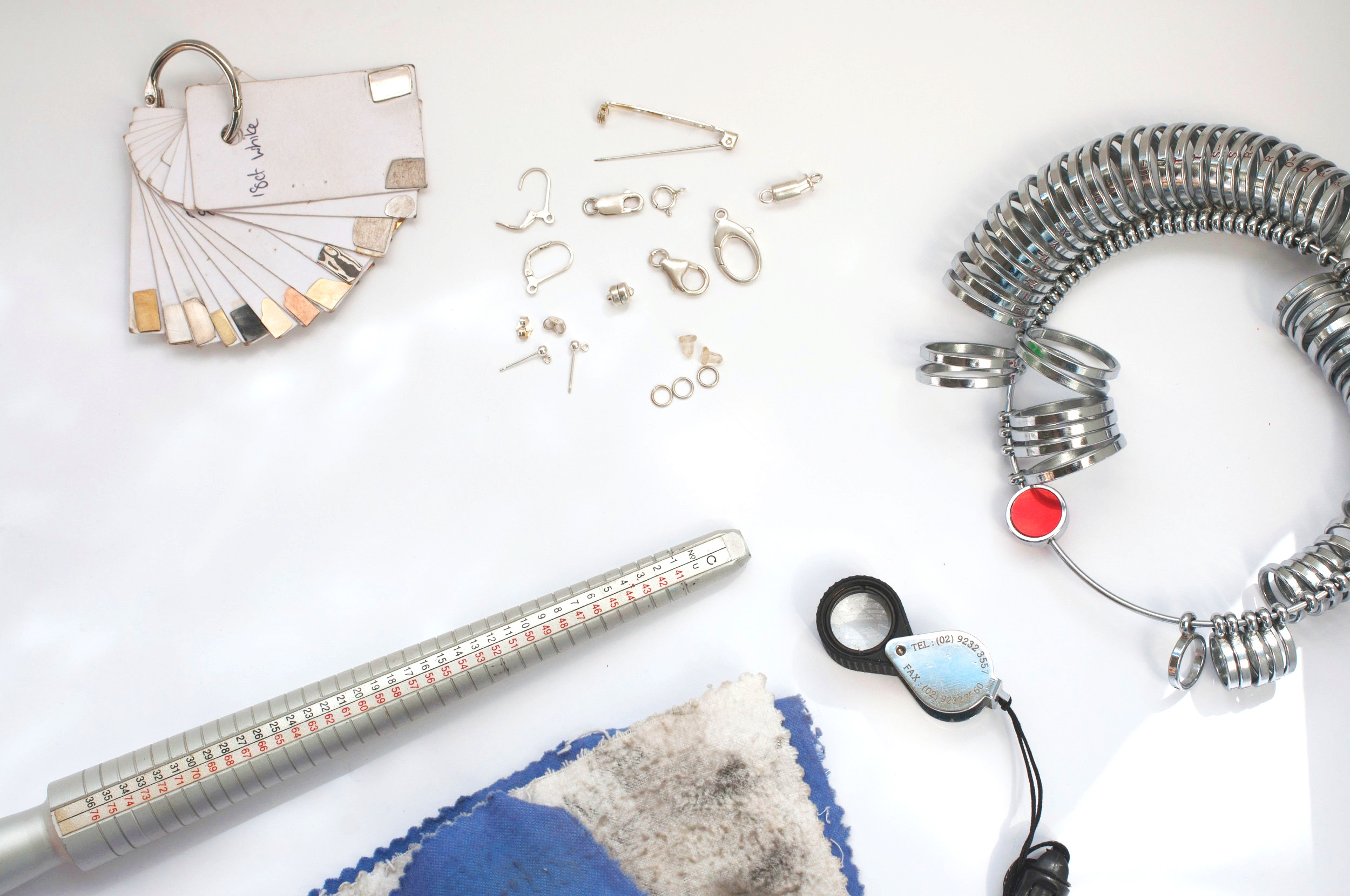 Samples of different metal colours, ring sizing equipment and some silver findings, all useful for altering and designing jewellery!
