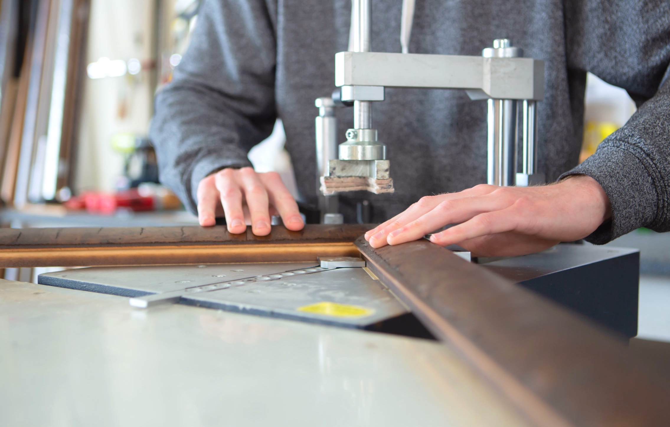 meticulous construction - To ensure solid stable construction we assess the specs of each moulding and join the frames with either an under-pinning method or our state-of-the-art Hoffman machine.