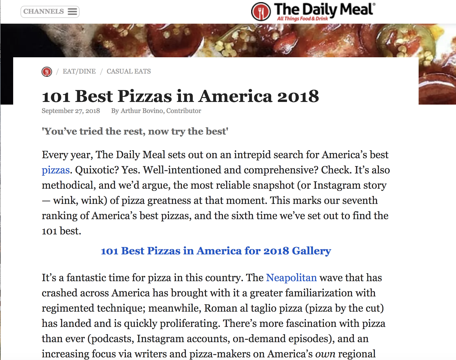 We research the newest best places, then build a survey of great pizzas from around the country.