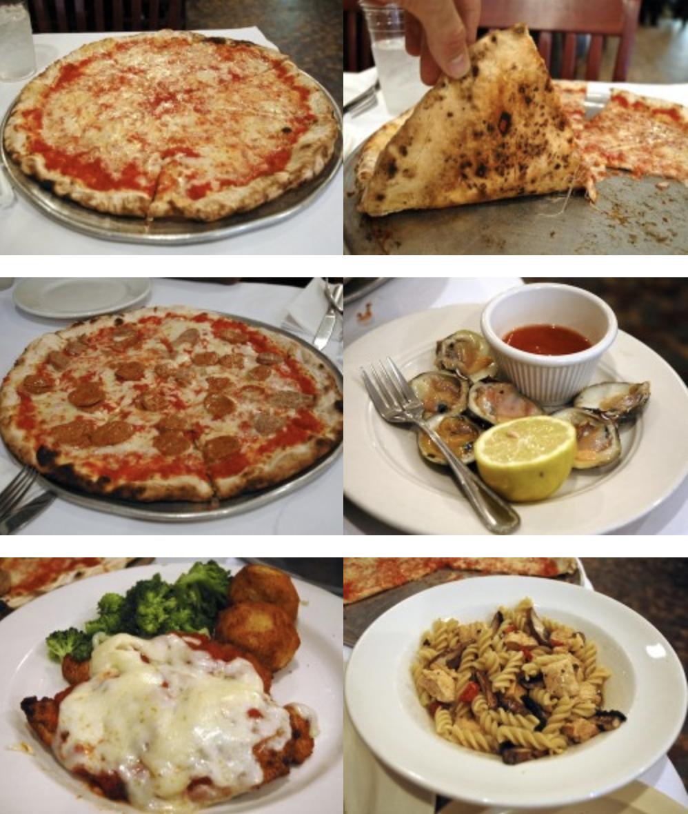 From top left, clockwise: Patsy's Original Coal Oven Pizza, Cheese Slice upskirt, Vongole Fresche, Fusilli con Pollo al Marsala, Chicken Parmigiana, and Coal Oven Pizza with Sausage.
