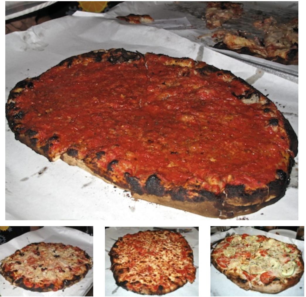 Top, Plain Tomato Sauce with Parmesan. From left, Medium Onion & Bacon, Medium Mozzarella, Medium White Zucchini Pie With Tomatoes and Onions.