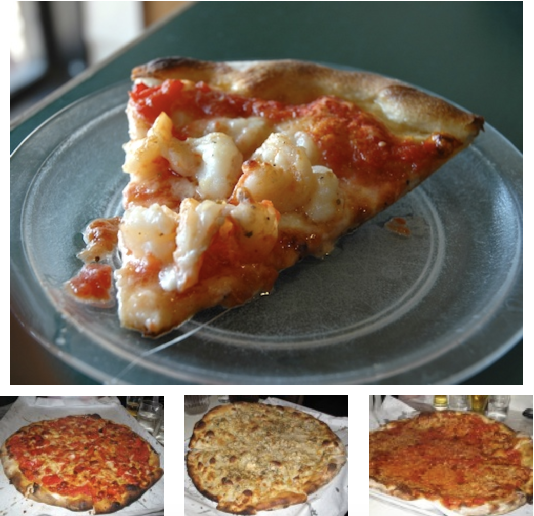 """Top, a slice from a Tomato Pie with Shrimp. From left, Tomato Pie with Mozzarella and Fresh Roasted Red Peppers, Large Clam Pie, and """"The Original Tomato Pie with Mozzarella."""""""