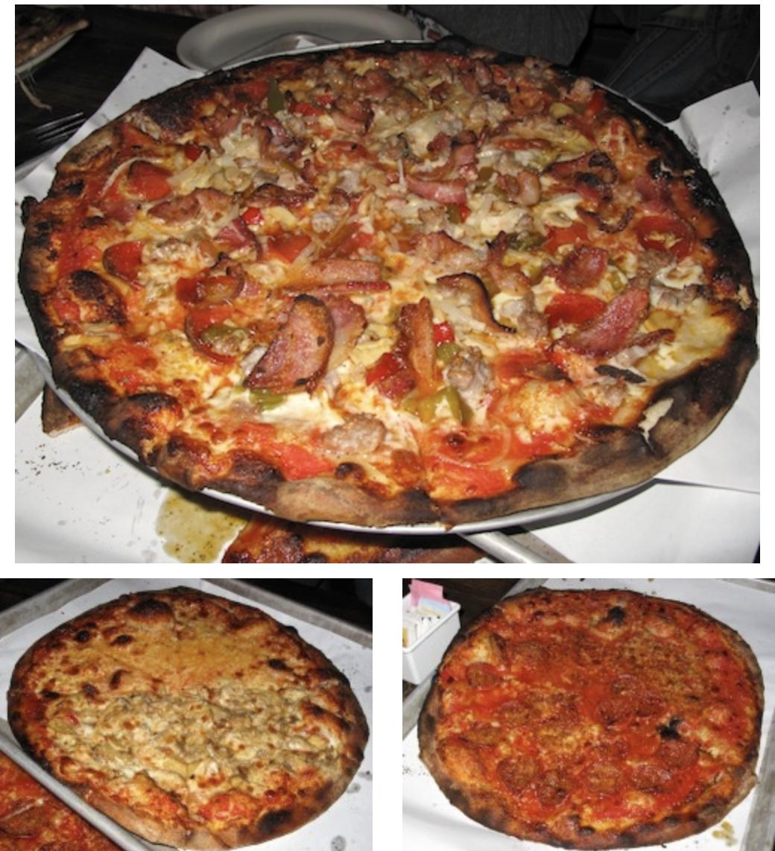 Top, Medium Italian Bomb. Bottom left, Half-Mozzarella Apizza, Half-Mushroom. Right, Mozzarella Apizza with Pepperoni.