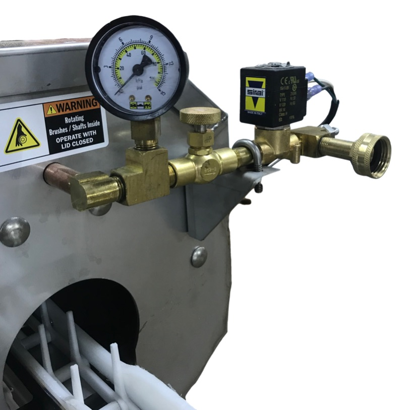 Metering valve and pressure gauge allows you to adjust incoming water flow.