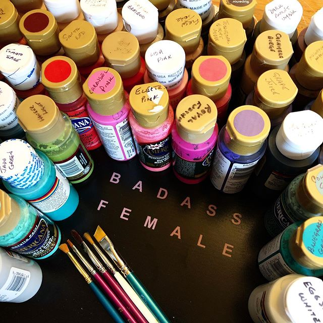 a lady in my tiny town, named ruth, (who i don't know) retired from painting to pursue other creative projects. she gave all of her paints and brushes to a man in my tiny town, named john (who i do know). he gave them alllllll to me! 🌈 #badass #iwishiknewruth