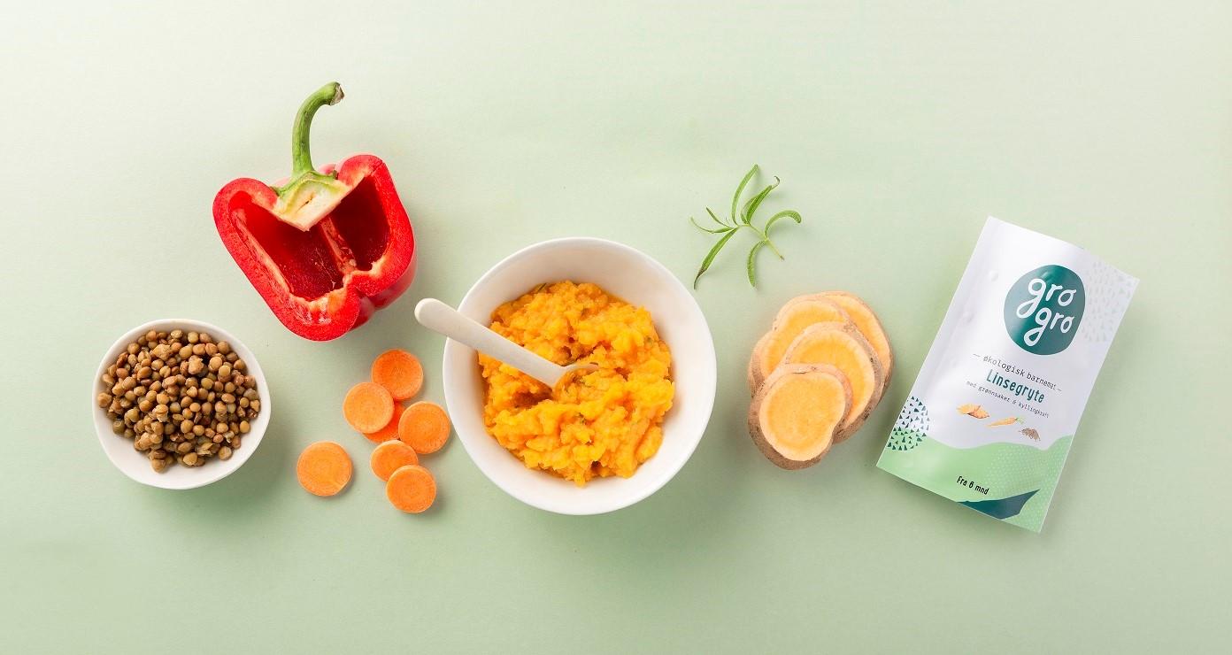 - Linsgryta med grönsaker och kycklingbuljongRekommenderad från 6 månader. 120 g Utan mjölk och glutenIngredienser: Morot 40%*, Sötpotatis 31%*, röda linser 12%*, kycklingbuljong 11%, röd paprika 4 %*, rosmarin 1%**Ekologiska ingredienser.100 g: Energi 137 kcal/573 kjFett 4,34g (varav Mättade fettsyror 2.31g, Fleromättade fettsyror 0.01g, Enomättade fettsyror 0,01g), Karbohydrat 20,5g, Kostfiber 6,24g, Protein 6,4g, Salt 0,08mg,
