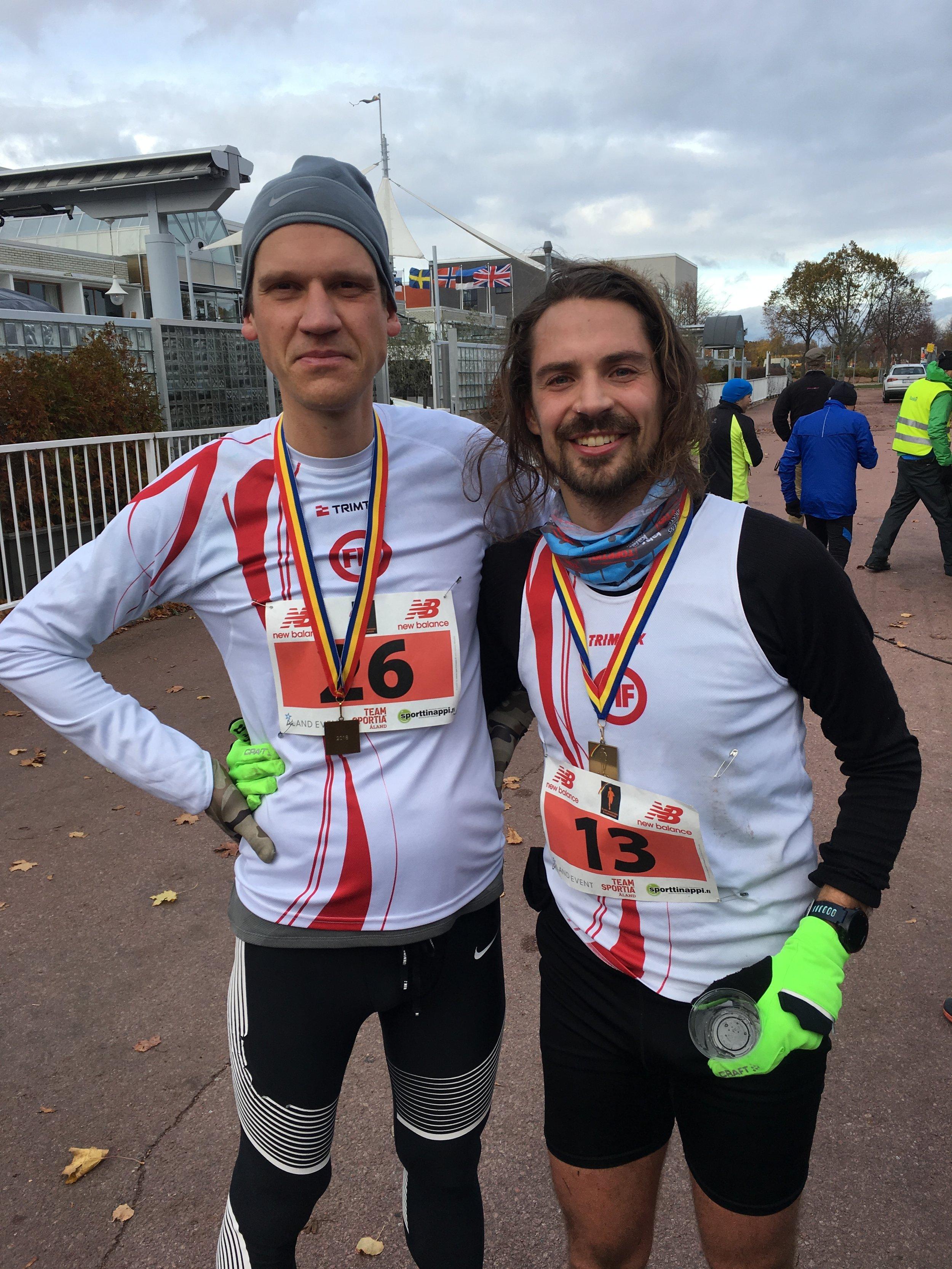 Mathias Ösmark och Christoffer Hiding blev etta respektive tvåa på Åland Marathon 2018.